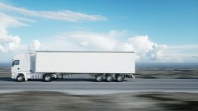 Convoy of white trucks. semi trailer on the road, highway. Transports, logistics concept. 4K realistic animation. Convoy of white trucks. semi trailer on the stock video