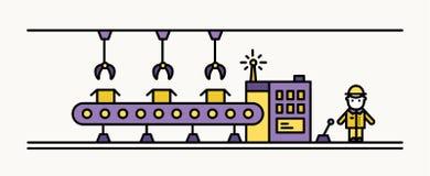 Convoyeur à bande d'usine équipé d'accrocher les robots manipulateurs transportant les boîtes et le travailleur industriel dans l Images stock