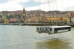 Convoyeur du travail architectural merveilleux de pont de Getxo qui permet la communication entre Getxo et Portugalete Architectu photos libres de droits