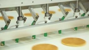 Convoyeur pour la production des biscuits à l'usine de confiserie banque de vidéos