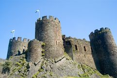 Conway Castle. Scenic view of Conway castle with blue sky background, Wales Royalty Free Stock Photo
