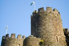Conway Castle. Exterior with blue sky  background, Wales, United Kingdom Royalty Free Stock Image