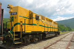 Conway Scenic Railroad, New Hampshire, USA. Conway Scenic Railroad EMD GP35 No. 216 in Crawford Notch Station in White Mountains, New Hampshire, USA Stock Photo