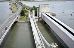 conwy桥梁的城堡 免版税库存照片