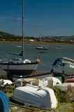 Conwy Bay harbor. Scenic view of boats moored in Conwy or Conway bay, Wales, United Kingdom Royalty Free Stock Photos
