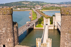 Conwy Castle And Three Bridges In Wales, UK Royalty Free Stock Photo