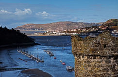 Conwy Castle and estuary Royalty Free Stock Photo
