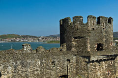 Conwy castle fortress with stone walls and towers Stock Photo