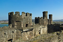 Conwy castle fortress with stone walls and towers Stock Photography