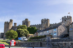 Conwy Castle, North Wales. An image taken from the harbour bay looking towards Conwy Castle, Conwy, north Wales Royalty Free Stock Image