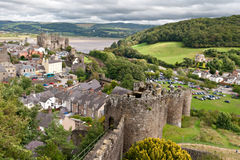 Conwy castle in Snowdonia, Wales royalty free stock photo