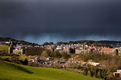 Conwy Castle walls and dark skies Royalty Free Stock Images