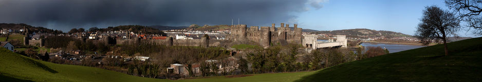 Conwy Castle walls and dark skies Royalty Free Stock Photo