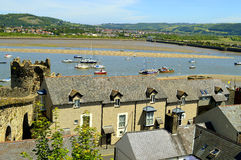Conwy historical medieval town wall surrounding Conwy town Royalty Free Stock Photo