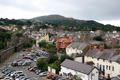 Conwy North Wales. Conwy (formerly also Conway in English) is a town in Conwy county borough in north Wales, which faces Deganwy across the River Conwy Stock Images