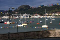 Conwy North Wales. Views around Conwy North Wales with its marina castle and suspension bridge Stock Photo