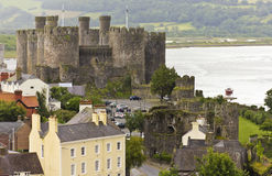 A Conwy, River Conwy and Conwy Castle Shot Stock Image