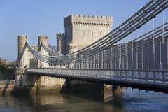Conwy Schloss-Brücke - Conwy - Wales Stockbilder
