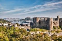 Conwy-Schloss in Wales, Vereinigtes Königreich, Reihe von Walesh zieht sich zurück Stockfotografie
