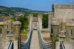 Conwy-Schlosshängebrücke Stockbilder