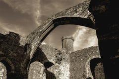 Conwy slott - sikt från insidan Arkivfoto