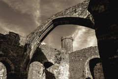Conwykasteel - mening van de binnenkant Stock Foto