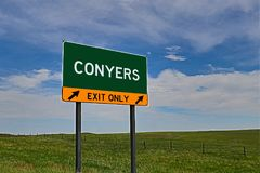 US Highway Exit Sign for Conyers. Conyers `EXIT ONLY` US Highway / Interstate / Motorway Sign stock photography