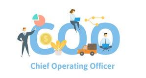 COO, Belangrijkste werkende ambtenaar Concept met sleutelwoorden, brieven en pictogrammen Vlakke vectorillustratie Geïsoleerd op  stock illustratie