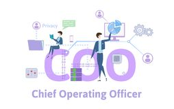 COO, Chief operating officer. Concept table with keywords, letters and icons. Colored flat vector illustration on white. COO, Chief operating officer. Concept stock illustration