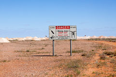 Coober Pedy danger sign Stock Image