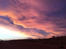 Coober pedy sun set clouds Royalty Free Stock Images