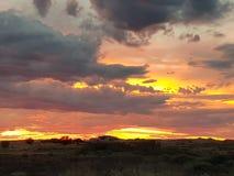 Coober pedy zon geplaatst Zuid-Australië Stock Foto