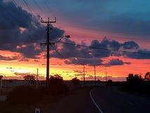 Coober pedy zon geplaatst Zuid-Australië Stock Fotografie