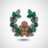 Coockie and wreath of Merry Christmas design Stock Photography