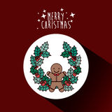 Coockie and wreath of Merry Christmas design Royalty Free Stock Images