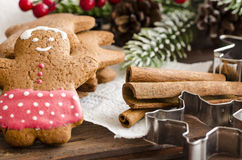 Coockies et décoration de Noël de bonhomme en pain d'épice photo stock