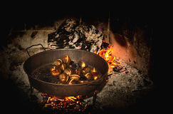 Coocking chestnuts on burning coals. Coocking some chestnuts on burning coals Royalty Free Stock Images