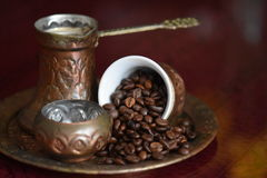 Cooffee beans. Coffee beans and coffee time Royalty Free Stock Photos