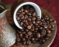 Cooffee beans. Coffee beans and coffee time Stock Photography