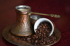 Cooffee beans. Coffee beans and coffee time Royalty Free Stock Photography