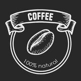 Cooffee label. Coffee chalk style vector engraving  label. Hand drawn engraved vector sketch etch illustration Royalty Free Stock Photography
