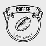 Cooffee label. Coffee vector engraving  label. Hand drawn engraved vector sketch etch illustration Stock Photos