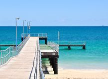 Coogee Beach Jetty: Indian Ocean Turquoise Waters stock photography