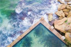 Coogee Ocean Rock Pool top down view stock photos