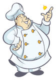 Cook. Chubby chef cartoon in white uniform snapping fingers Royalty Free Stock Photo