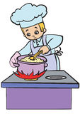 Cook. Cap s porridge on the stove royalty free illustration