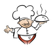 Cook. The cook holds the prepared dish in one hand vector illustration