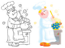 Cook. Funny cook made a soup in a pan (3 versions of the illustration Royalty Free Stock Photos