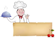 Cook. Chef illustration keeping blank paper Stock Photos