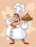 The cook. Happy cook with his well-cooked chicken vector illustration